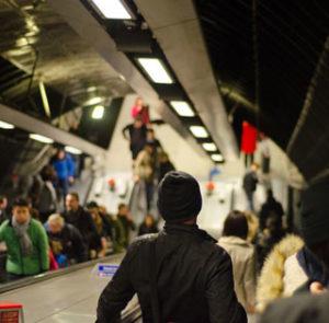 Crowded subway image